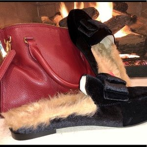 NEW Fur Velvet Bowed Mules
